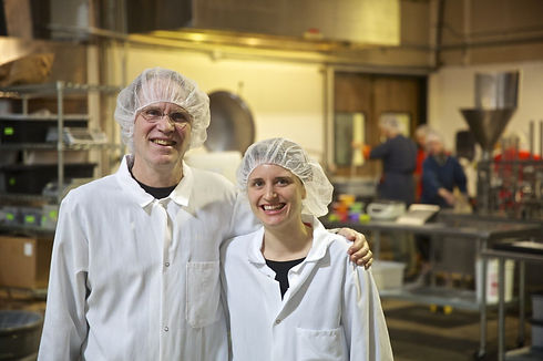 Hannah and Dad-hairnets.jpg