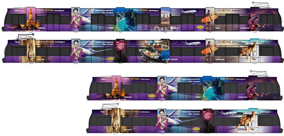 Straßenbahnen Thai Airways Wien 6.2018