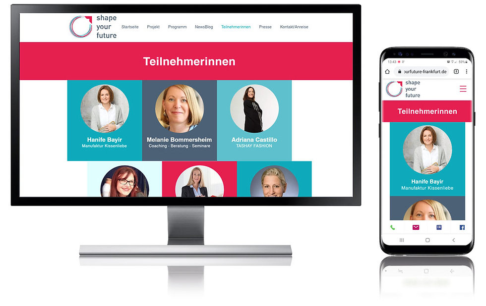 "Websitebeispiel jumpp Projekt ""Shape your Future"""