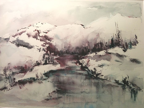 Snowy Reflections (watercolour)