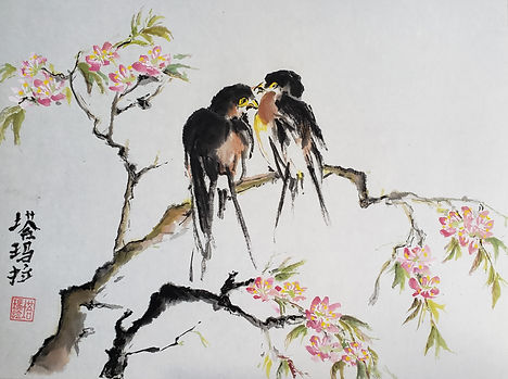 Conversation (ink and watercolour on rice paper 14x18)