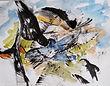 Birds, birds, birds (ink and watercolour)