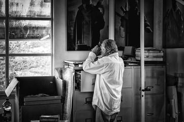 ROMANO CAGNONI Photographer Checking old Negatives in his Studio LA ROCCA