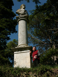 GIGLIOLA BUFALINI standing next to the hurted Memorial of her Ancestor Domenico Andrea Fabbricotti