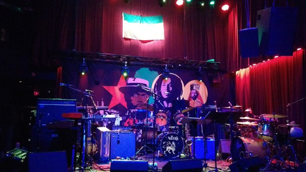 A picture of the stage at the Ardmre Music Hall. The stage was set up on this night for The Wailers.