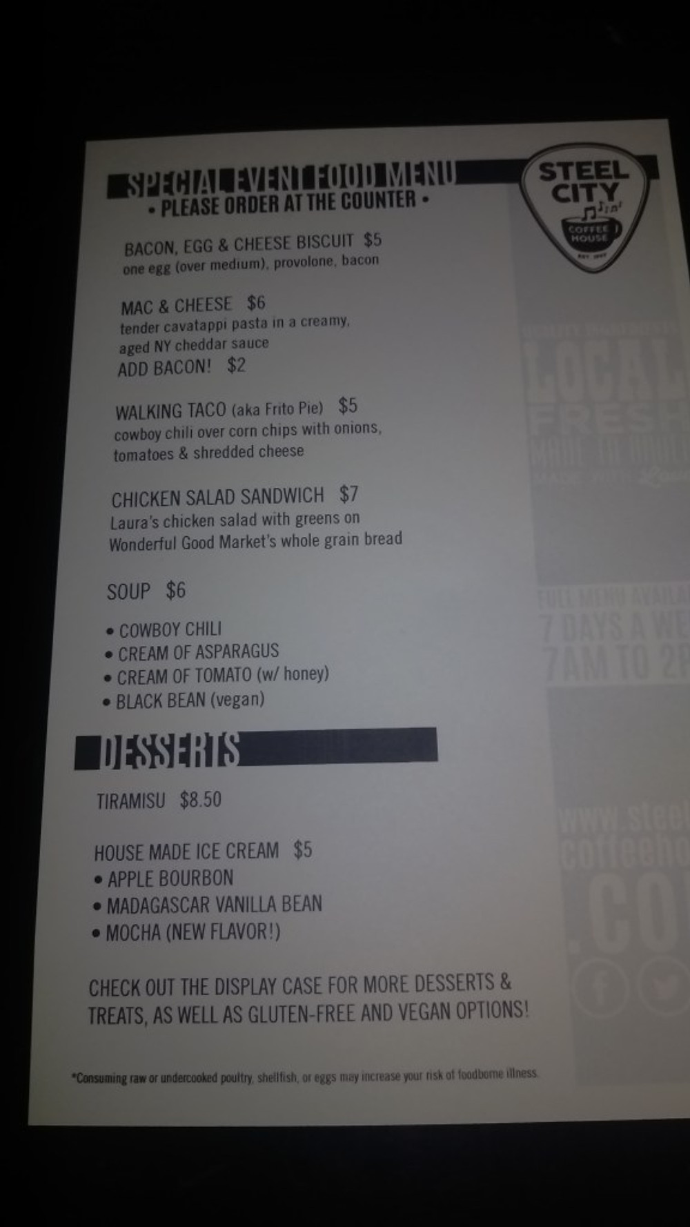 A picture of the menu items available prior to the show.
