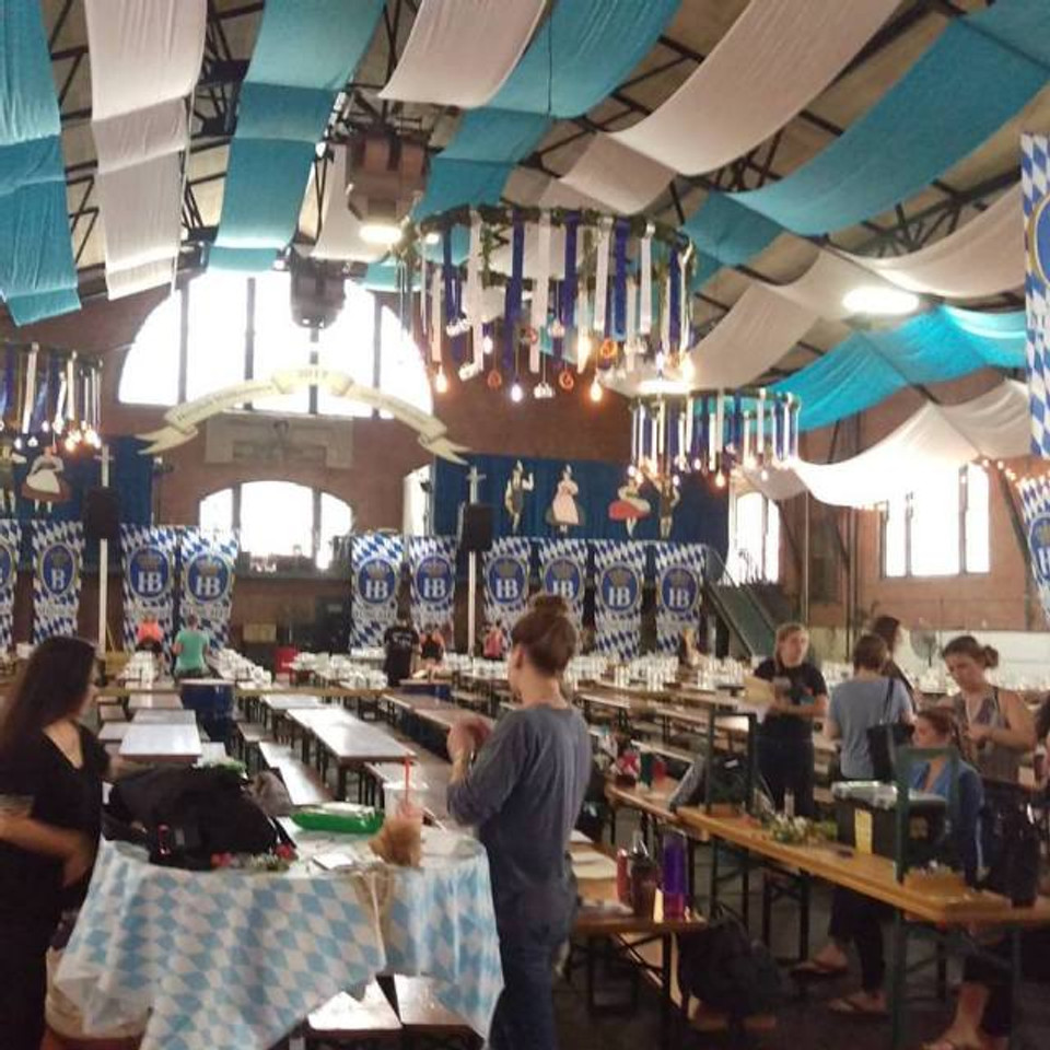 The inside of the Armory being decorated to look like a beer hall in Munich.
