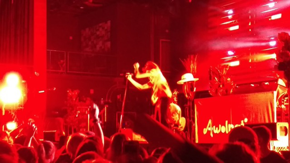 AWOLNATION on stage at The Fillmore with red lighting giving a cool effect.
