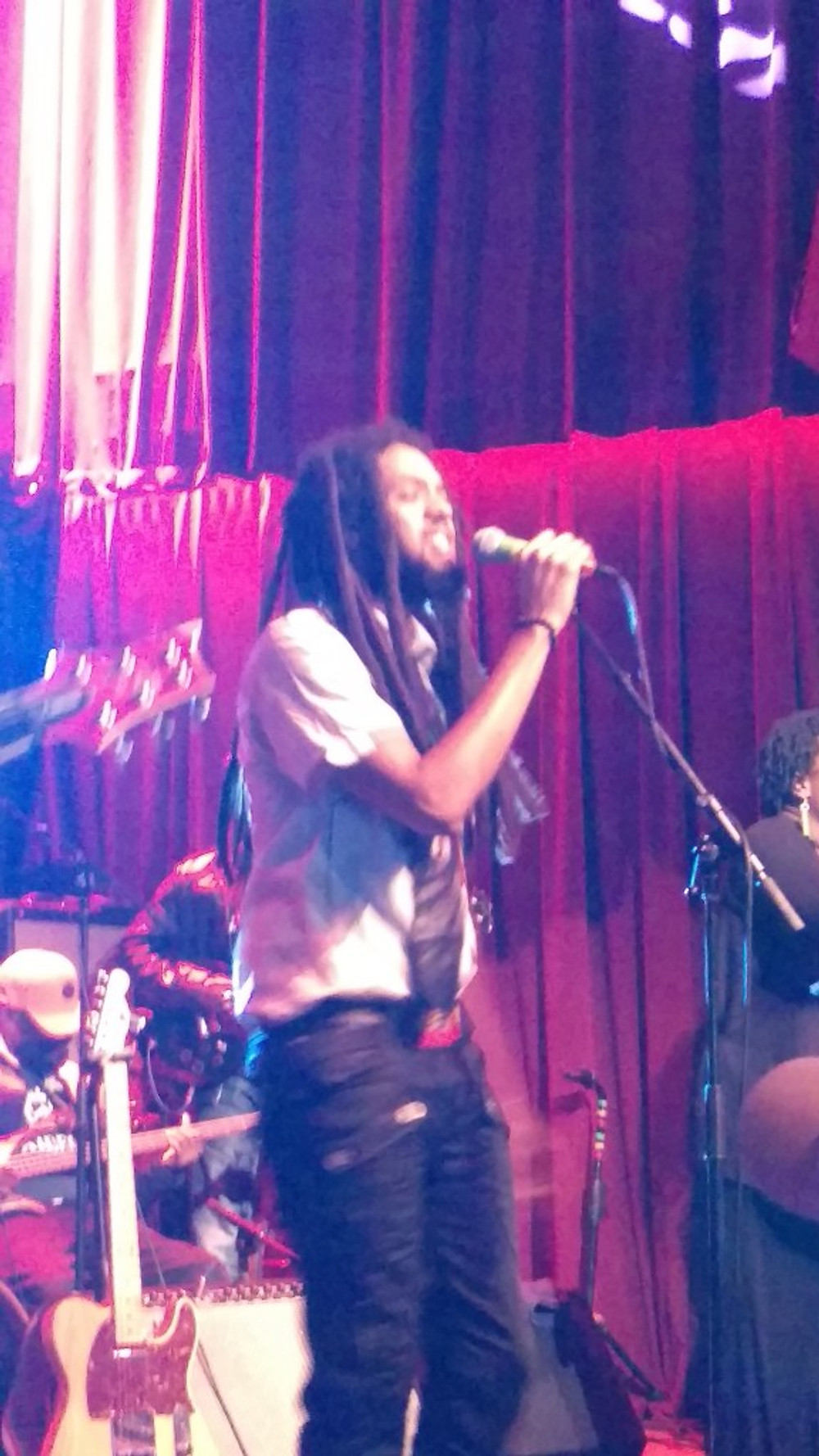 A picture of the lead singer of The Wailers performing.