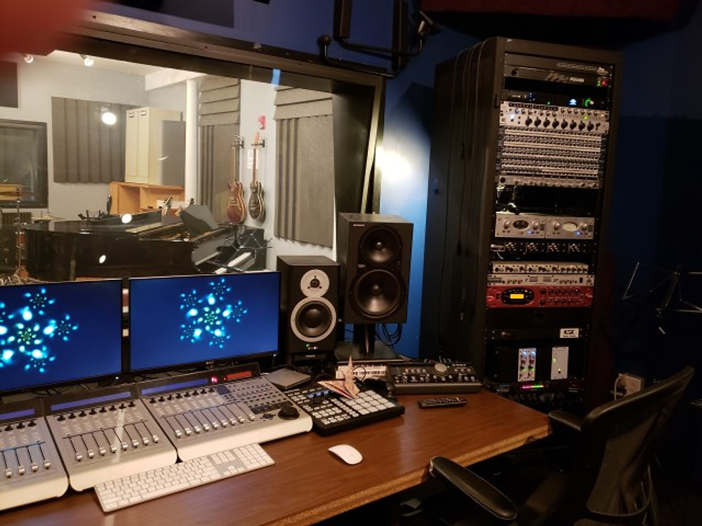 A mixing board inside the Music Resource Center in Charlottesville.