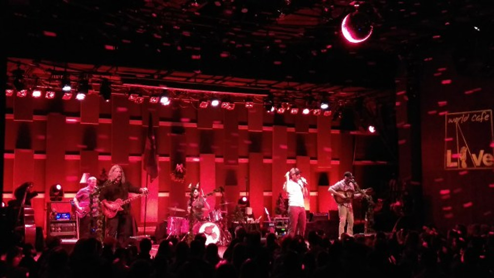 A picture of Carbon Leaf on stage at World Cafe Live.