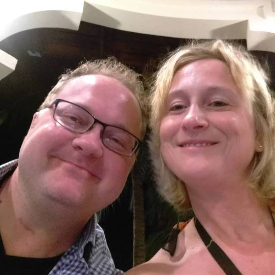 My husband and I taking a selfie at the bar at the resort.