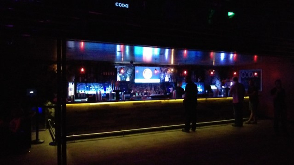 A picture of the bar inside the venue at Coda.