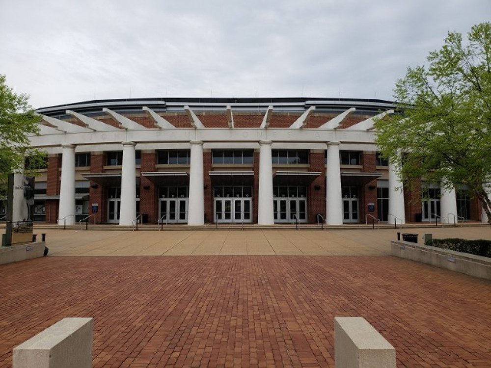 The front entrance to John Paul Jones Arena in Charlottesville.