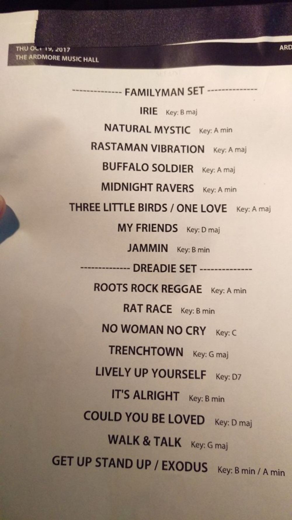 A picture of the set list from the show.