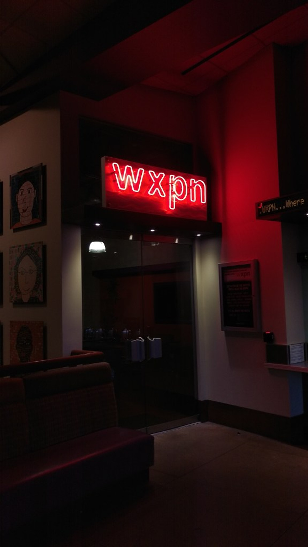 A picture of the entry to the WXPN radio studio.