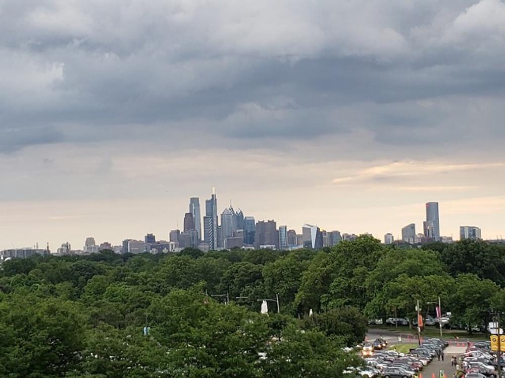 The Philadelphia city skyline.
