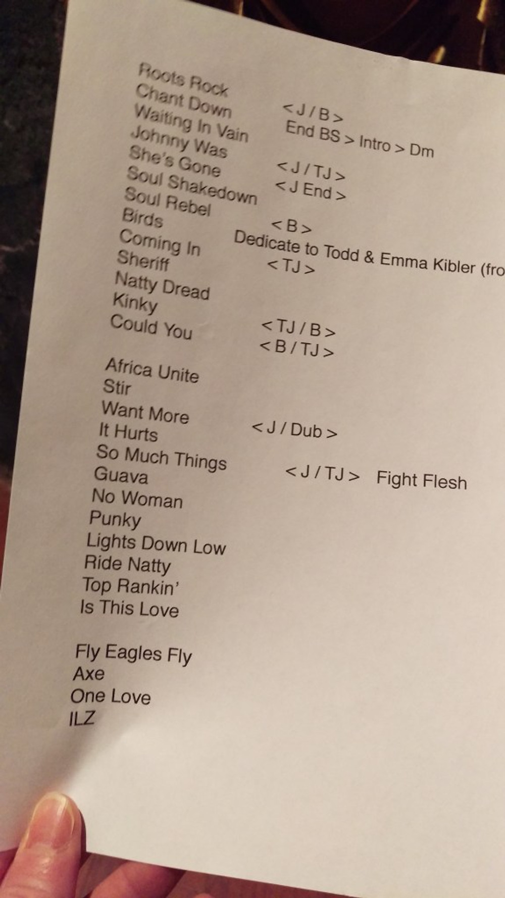 A picture of Spokey Speaky's set list.