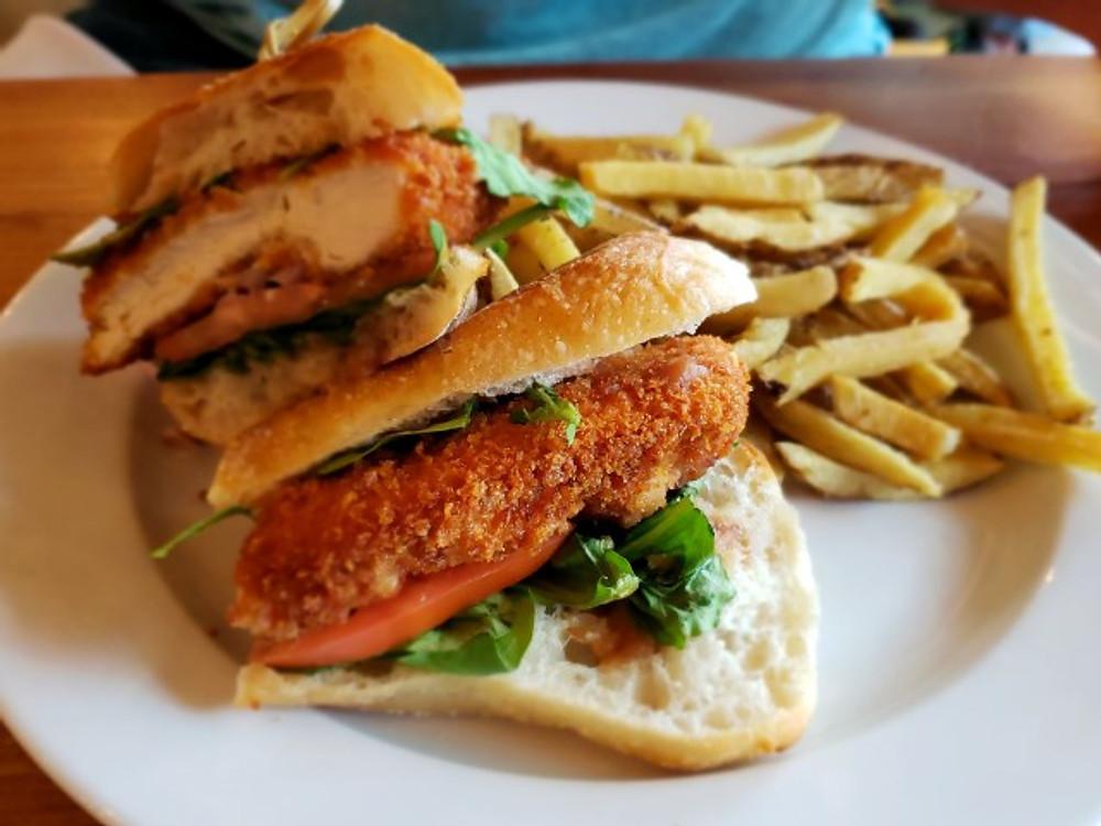 The chicken schnitzel sandwich at Roy Pitz Barrel House.