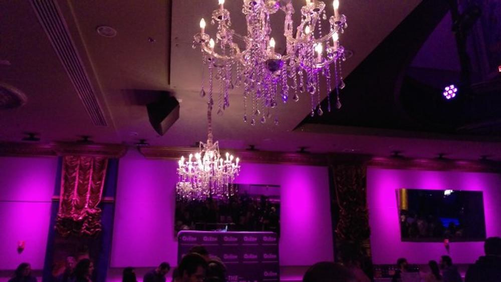The chandeliers hanging inside The Queen in Wilmington.
