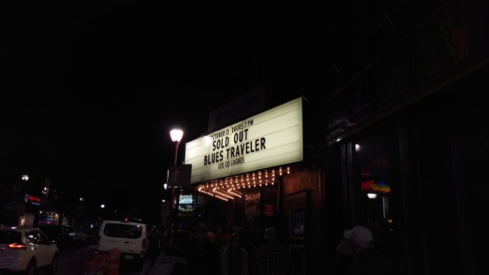 A picture of the marquee outside the TLA for Blues Traveler saying that it is a sold out show.