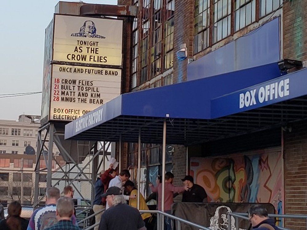 The box office is located outside the entrance to the Electric Factory.