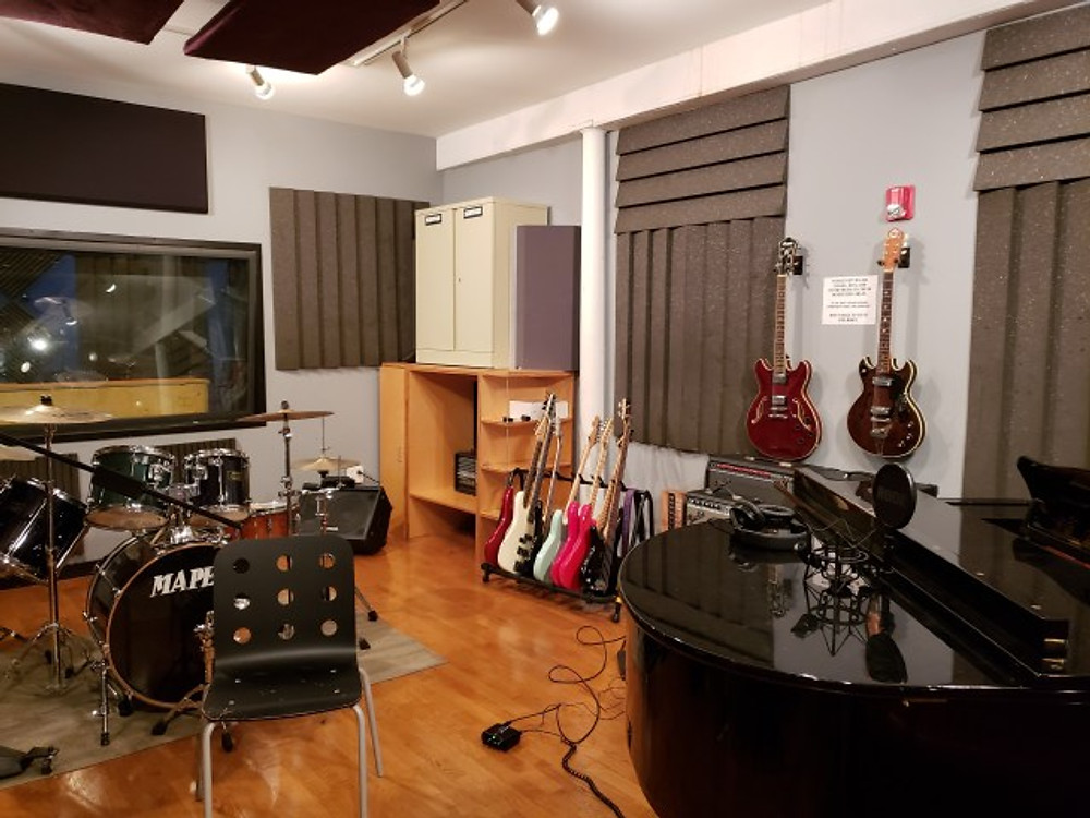 One of the rehearsal rooms insde the Music Resource Center in Charlottesville.