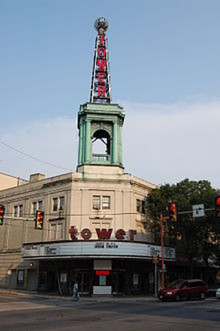 A picture of the outside of the Tower Theater showing the famous radio tower.