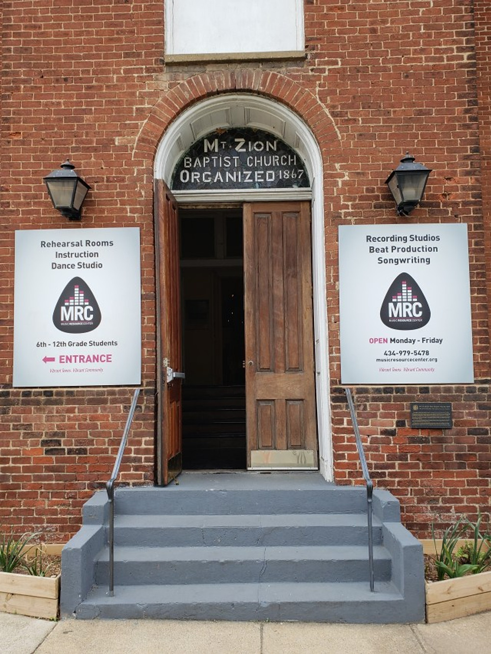 The entrance to the Music Resource Center in Charlottesville.