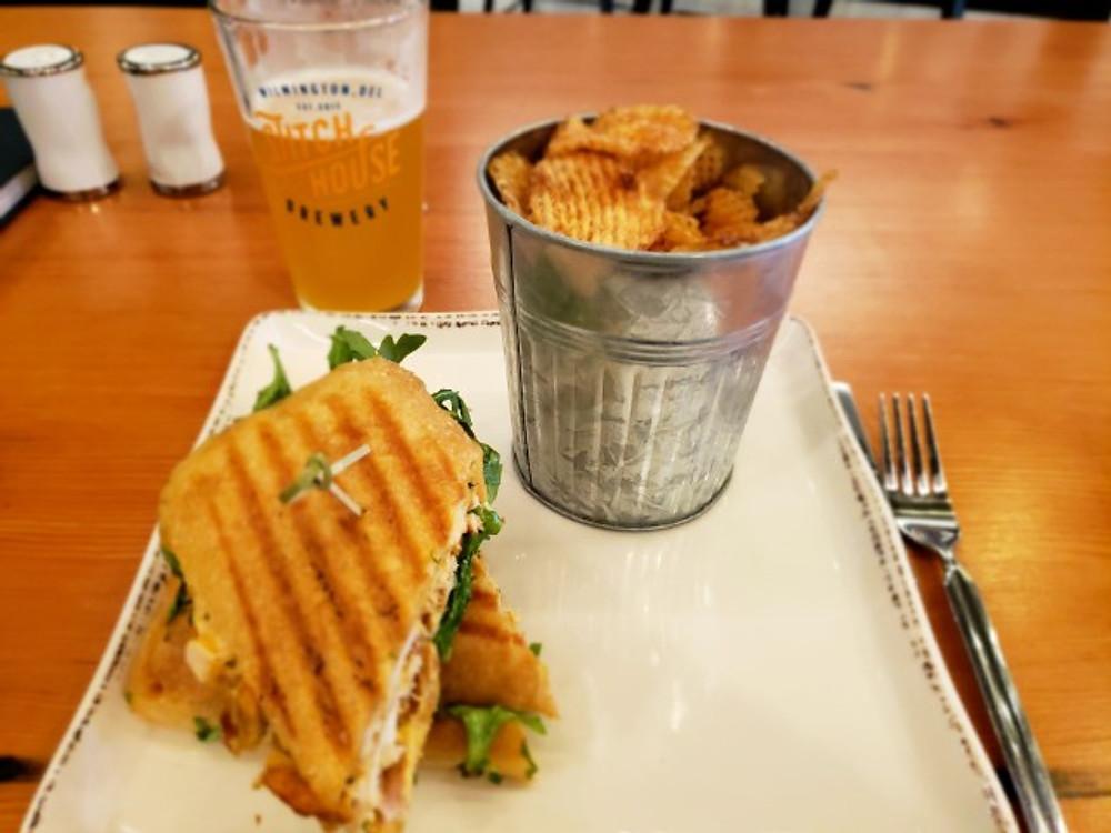 The chicken salad sandwich at Stitch House Brewery.