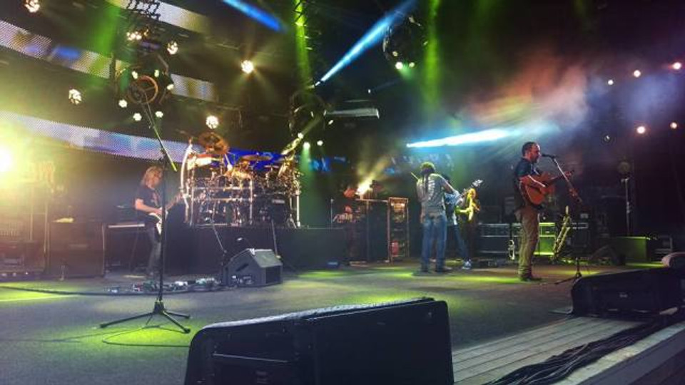 A picture of Dave Matthews Band onstage at Jones Beach in NYC in the summer of 2016.