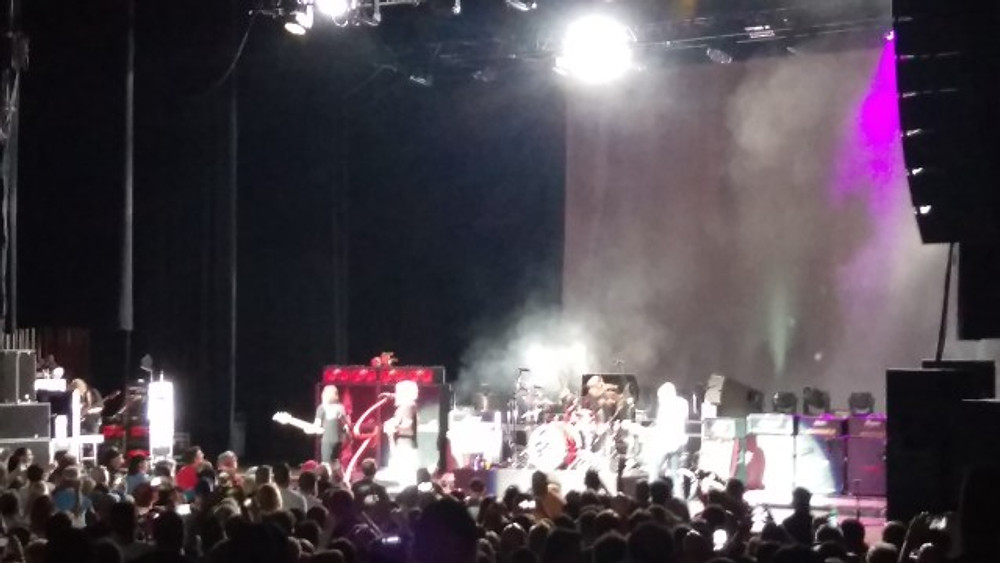 This is a picture of Sammy Hagar and The Circle taking the stage at The Mann Center in Philadelphia.