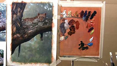 Leopard in Tree - Oils