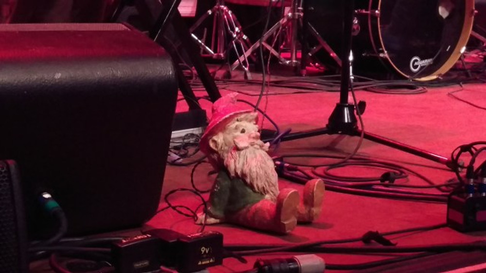 One of the gnomes that was set out in front of the stage during Suburbad Sensi's set.