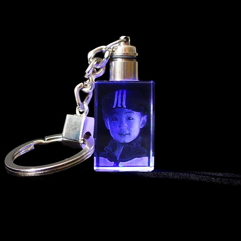 3D Photo Engraved Crystal Key Chain with LED Light