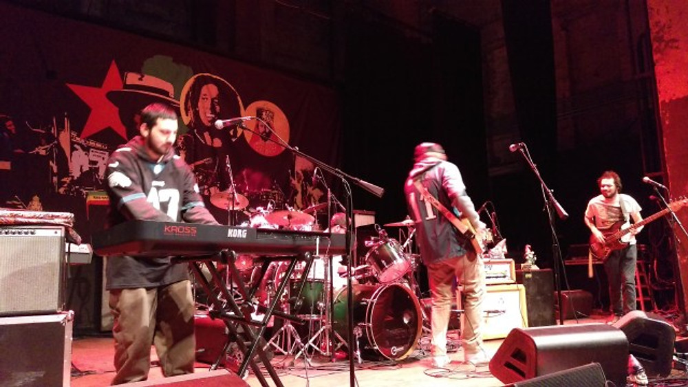 Surburban Sensi on stage at The Queen wearing their Eagles jerseys.