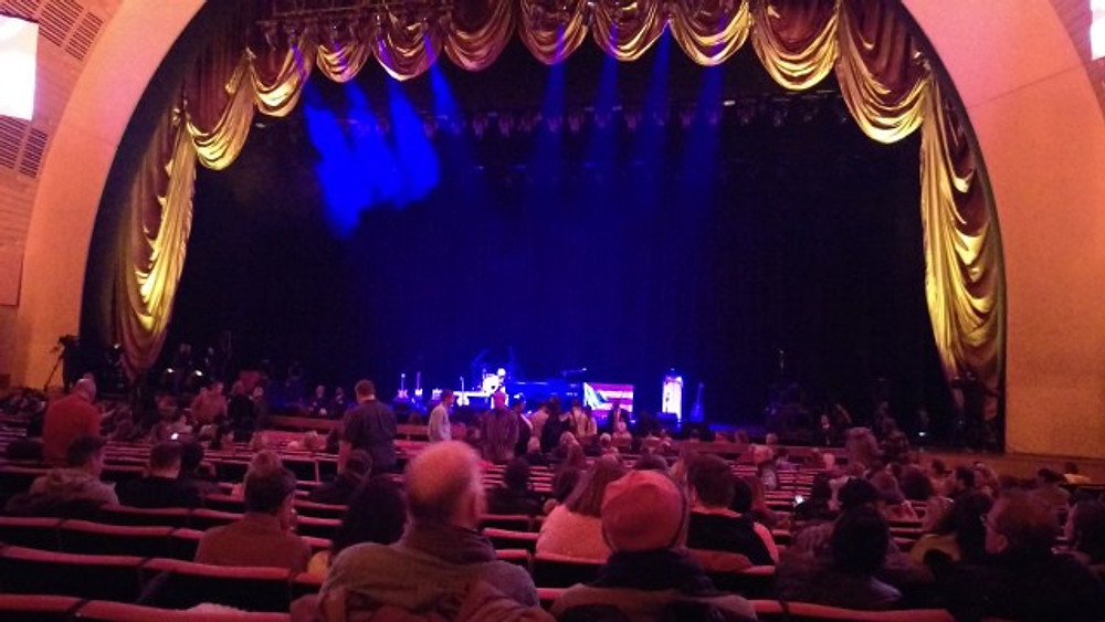 A picture of the stage of Radio City Music Hall.