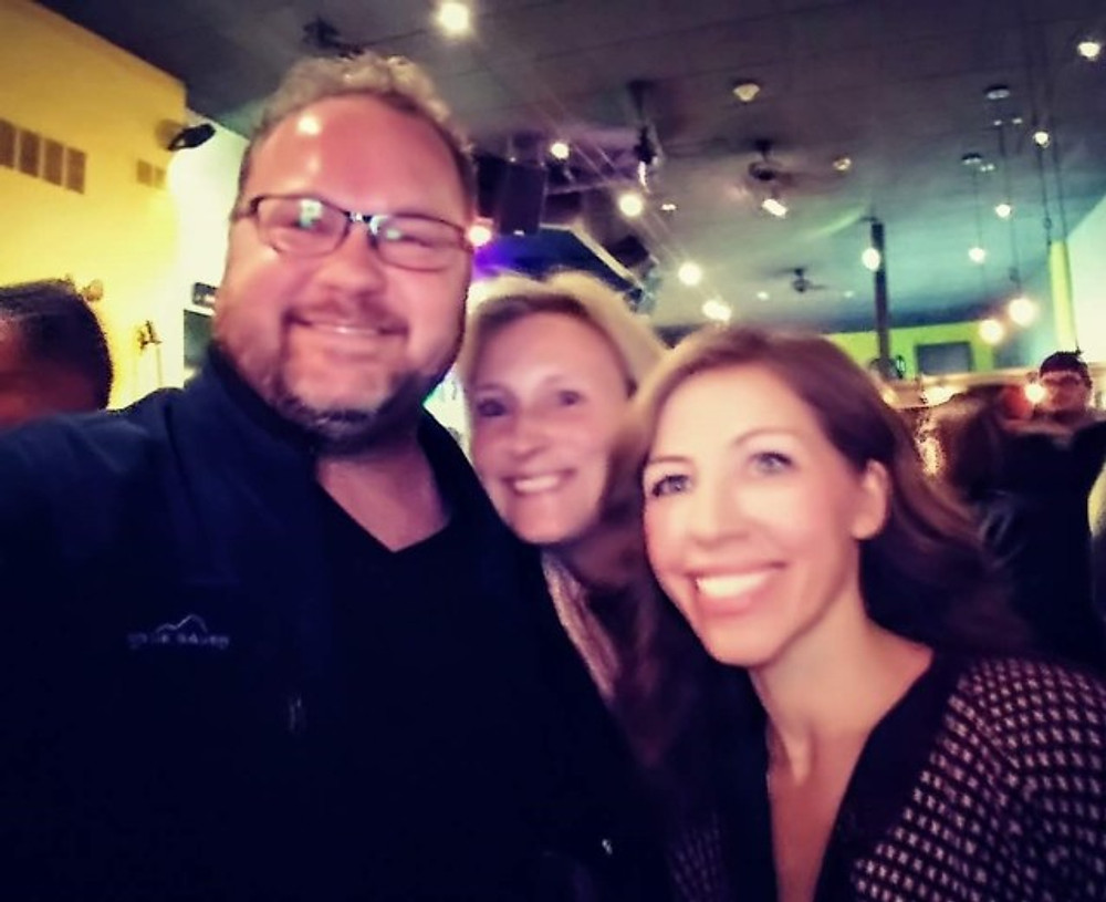A selfie with my husband, me and Rachael Price.
