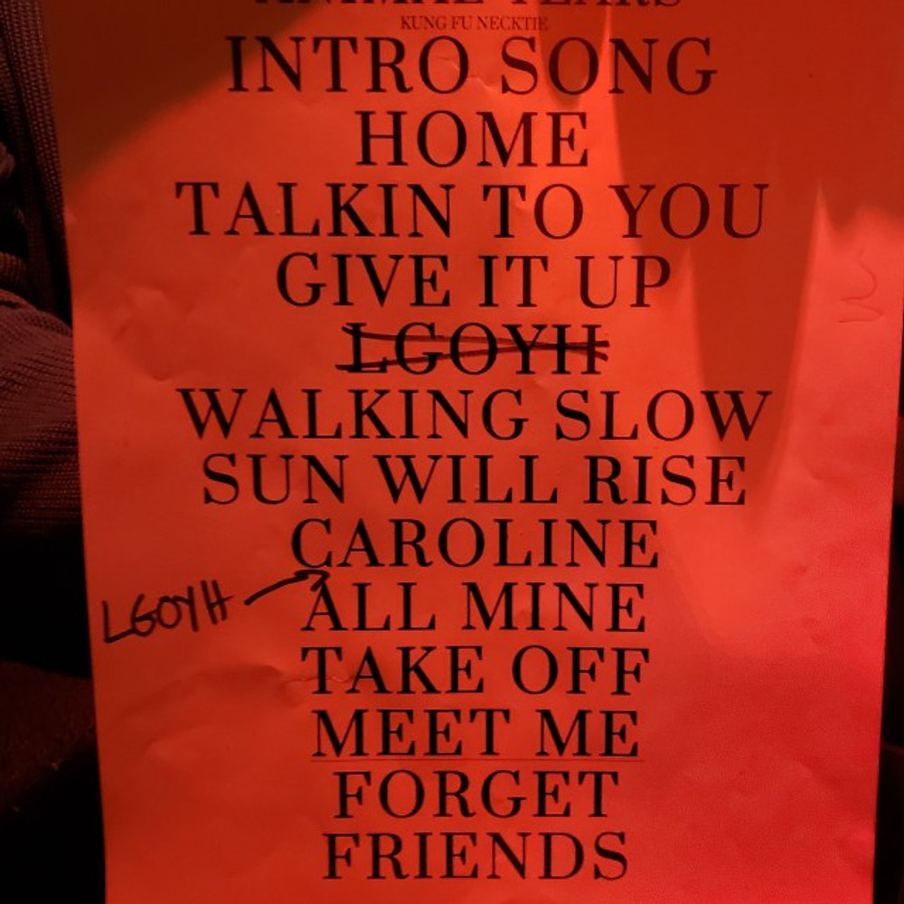 A copy of the set list from the Animal Years show.