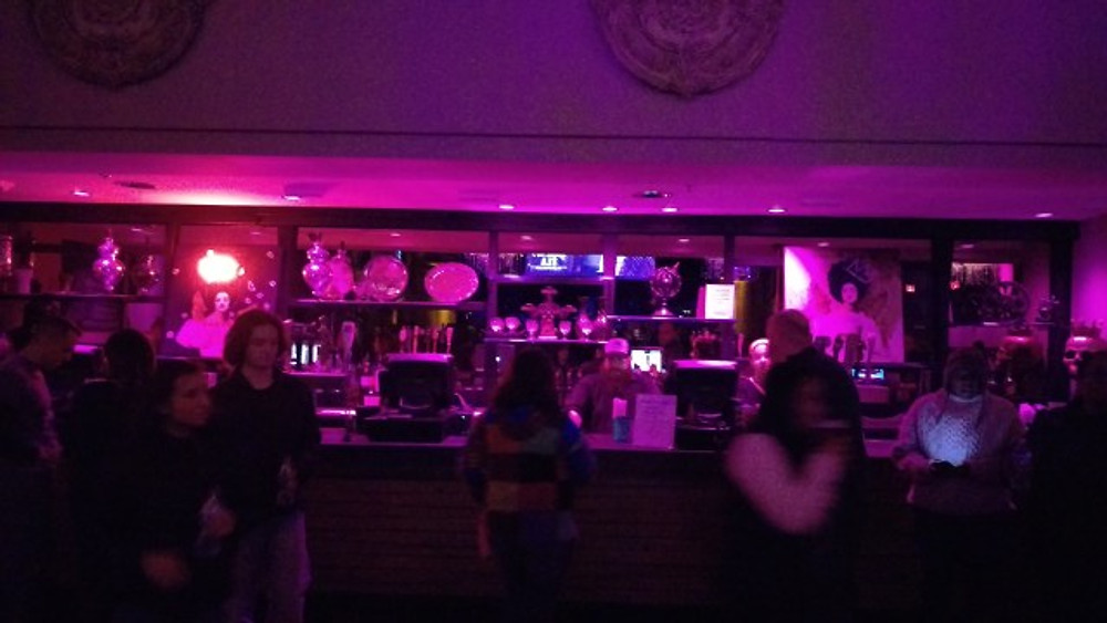 The main bar in the back of the downstairs room.