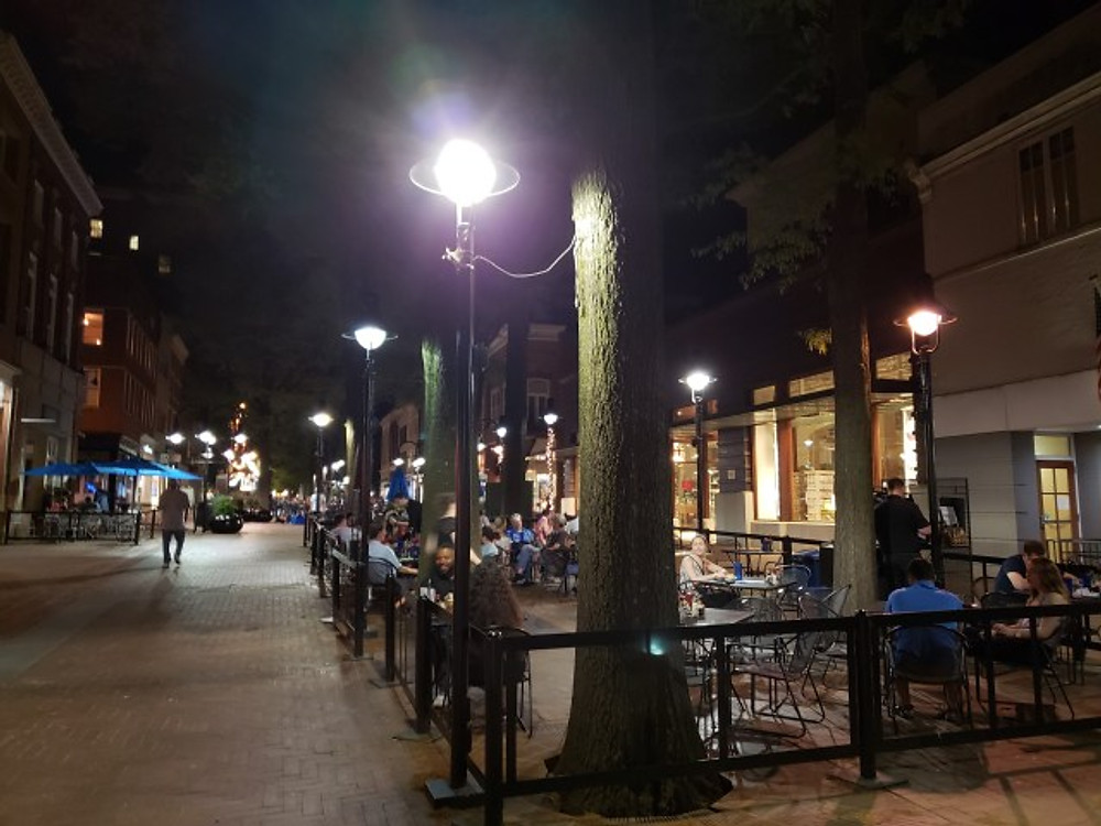 The downtown mall area in Charlottesville at night.