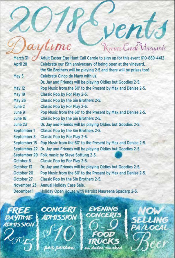 The listing of events happening at Kreutz Creek Vineyards.