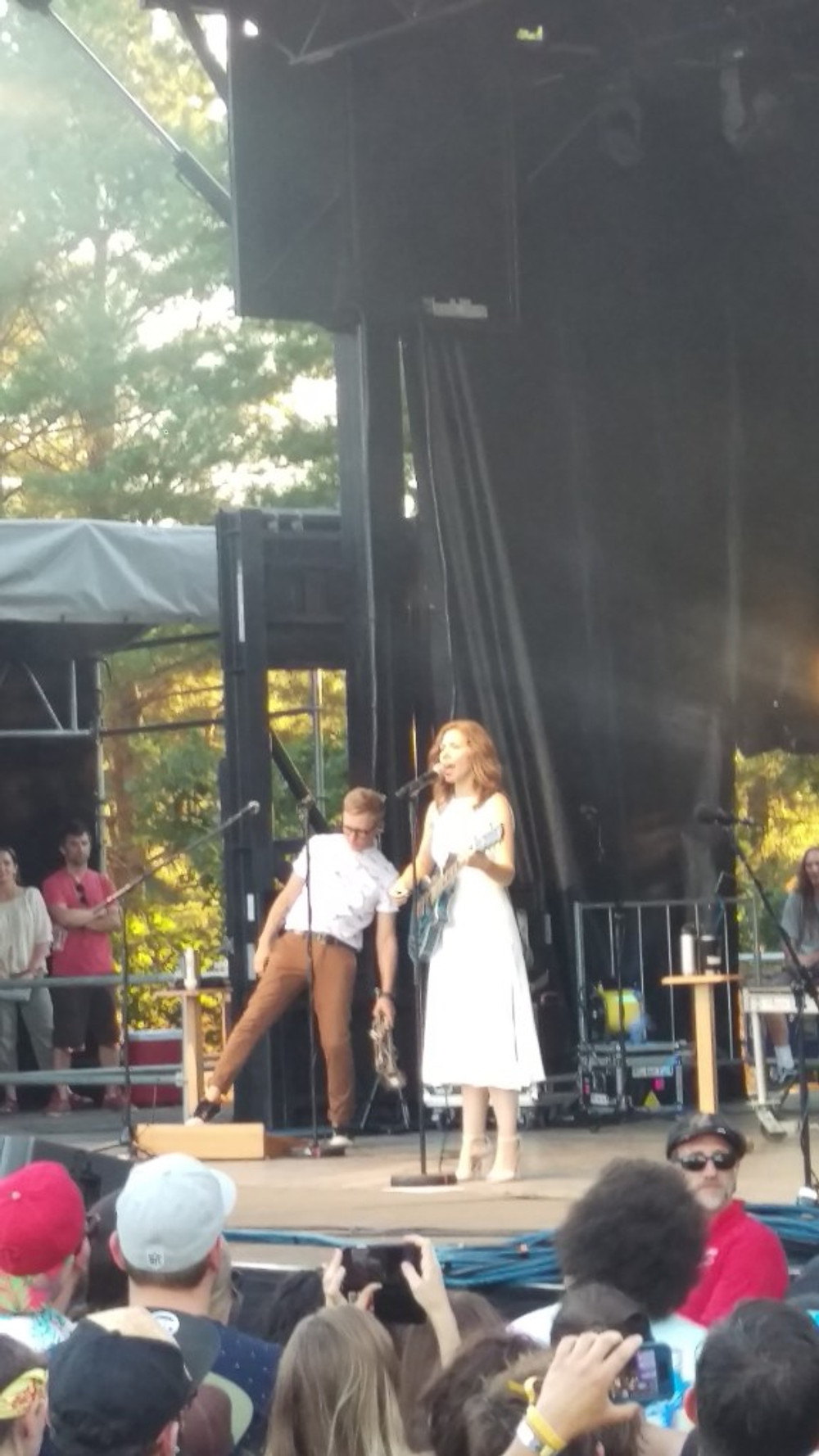 A picture of Rachael Price of Lake Street Dive performing at Levitate Music Festival.