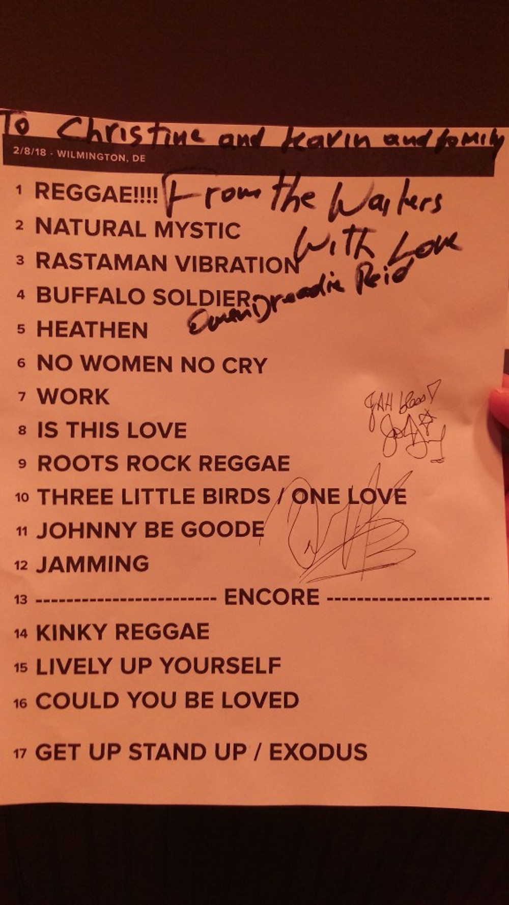 The set list from the show signed by Dreadie Reid, Donald Kinsey and Joshua David Barrett.