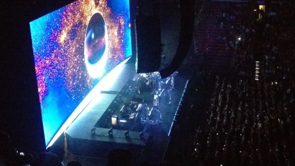 View of the stage from up high and on the side at the Wells Fargo Center.
