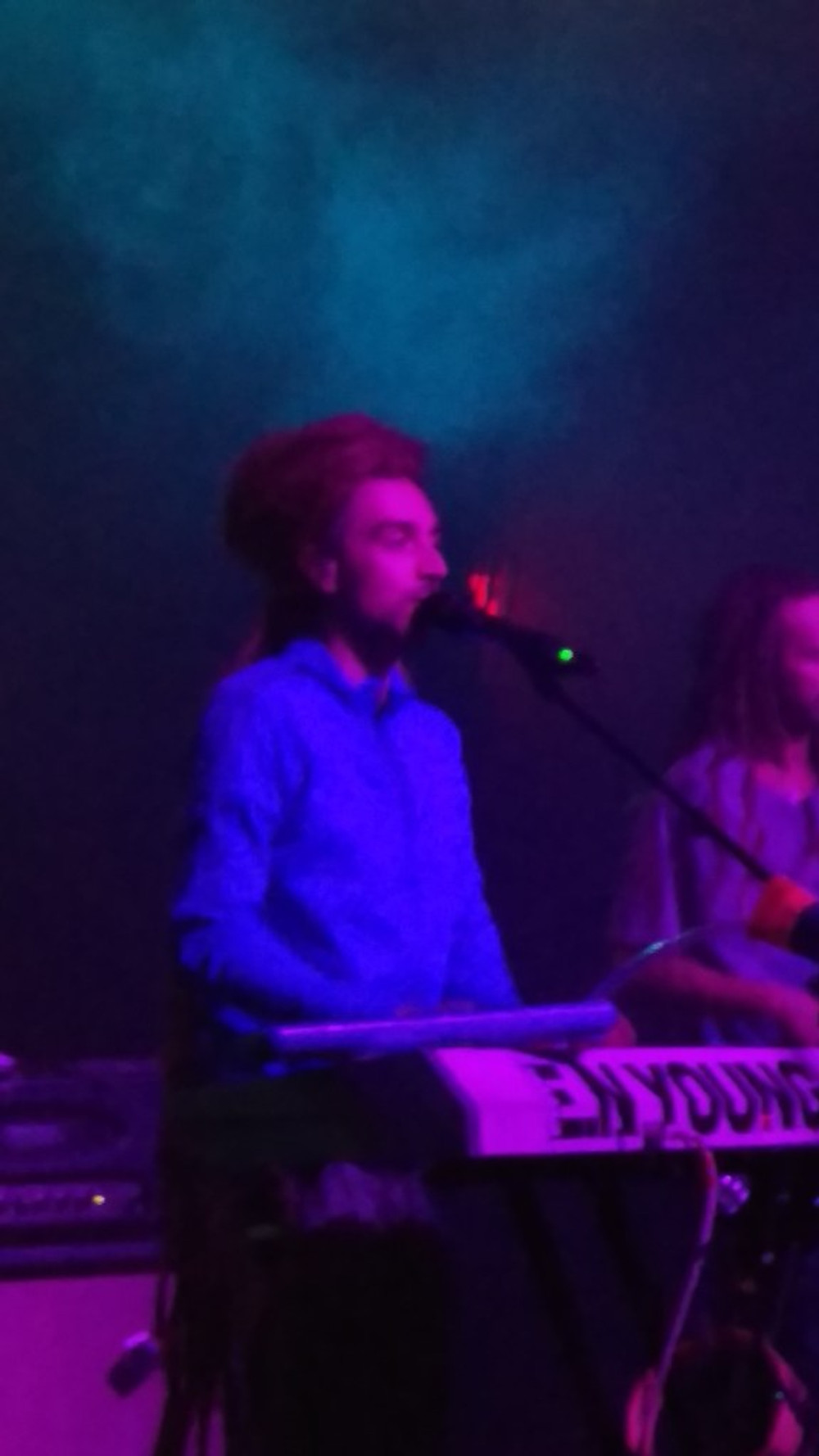 A picture of E.N Young at his keyboard during the show.