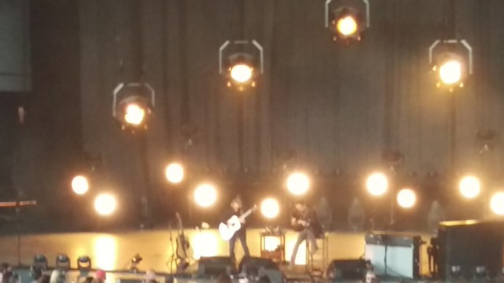 Picture of Dave Matthews and Tim Reynolds on stage during their show at The Mann Center in Philadelphia.