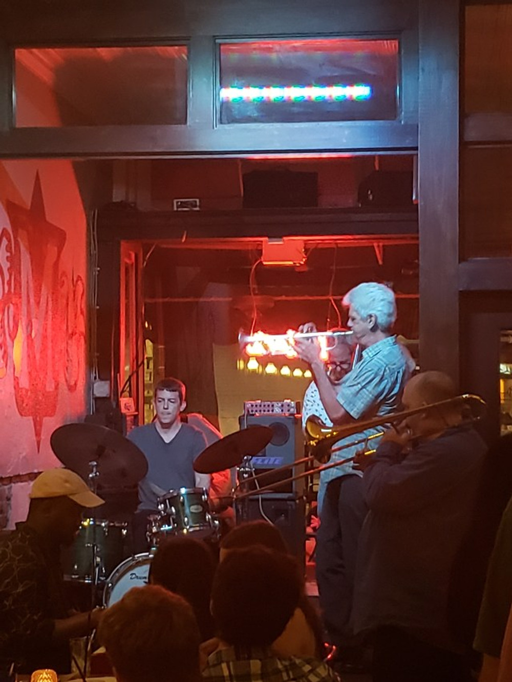 John D'earth and some other musicians on the stage performing at Miller's this past Thursday night.