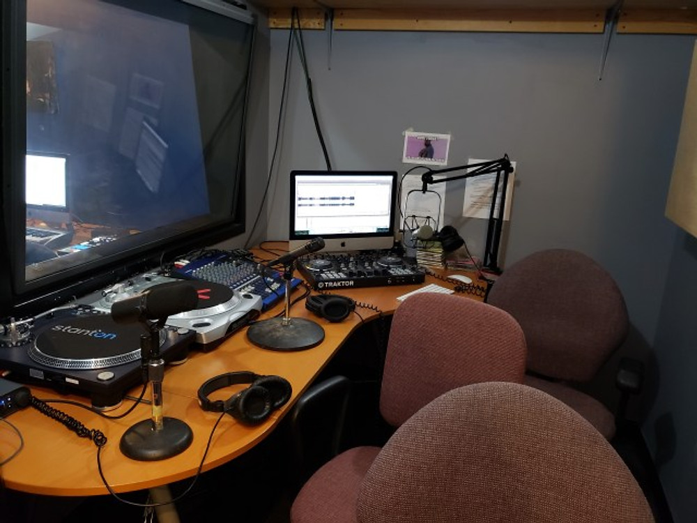 The broadcasting studio at the Music Resource Center in Charlottesville.