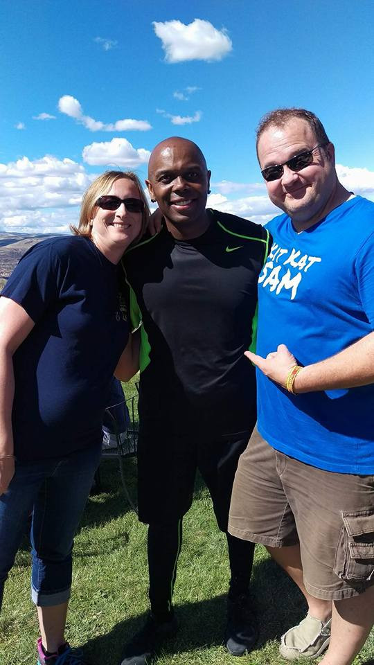 A picture of my husband and I with RAab Stevenson at the Gorge in 2016.